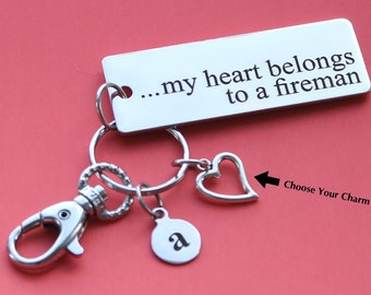Personalized Fireman Key Chain My Heart Belongs to a Fireman Stainless Steel Customized with Your Charm & Initial -K304
