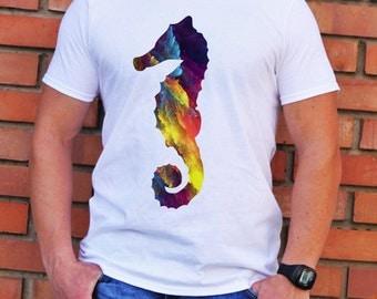 Seahorse T-shirt - Art Tee - Fashion T-shirt - White shirt - Printed shirt - Men's T-shirt - Gift