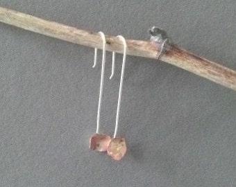 Earrings mi of a little flower made of copper