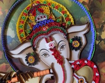 unique quilled paper ganapathi art work