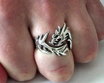 Wolf dragon ring mens 925 sterling silver animal gift