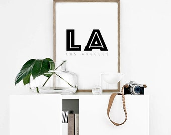 LA POSTER PRINTABLE | Los Angeles Print | City Poster | Black and White | Typography Wall Art | Minimalist Print