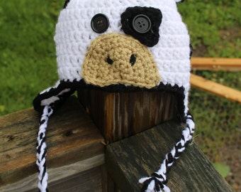 Crochet Cow Hat, infant, toddler, child, adult