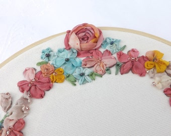 Personalized wedding embroidered hoop, 17cm flower silk ribbon embroidery, custom wedding hand embroidered hoop