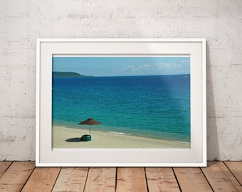 Wall Art beach, tropical, blue, white sand, shells, summer, vacation, relax, wall print, poster, Instant Download