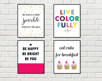 Set of 4 Kate Spade Posters Printable Quotes Prints Party Favors Kate Spade Pack Set of 4 Posters Printable Set of Kate Spade Posters
