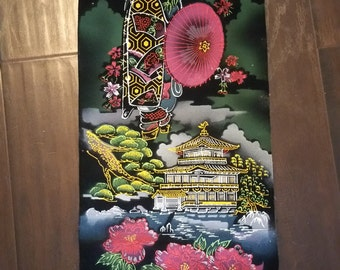 Yamayo Vintage Handpainted Velvet Japanese Wall Scroll