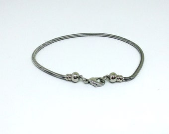 """8.5"""" Stainless Steel Bracelet, European Style, Caprice Chain, Snake Chain, Interchangeable Charms, Removable Ball End, Thick Bracelet,HC2554"""