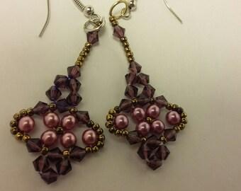 Crystal Beaded Earrings glass pearls