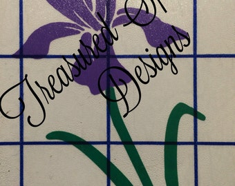 Iris decal, flower decal