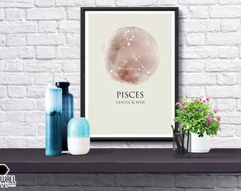 Zodiac Star Sign & Positive Traits Print, Moon, Constellations, Poster, Gift