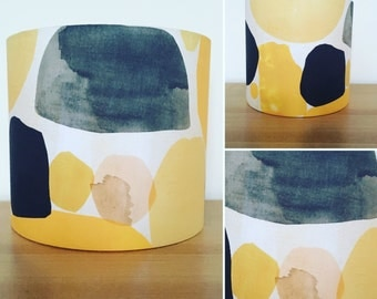 Handmade Fabric Lampshade, ochre, mustard and black abstract shapes