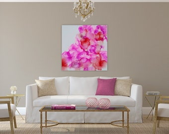 """Original abstract floral painting, orchids, purple, white, pink, red, 24x24"""" panel"""