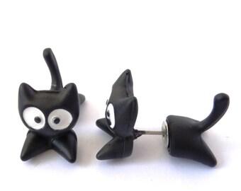 Black Cat 3D Fimo Stud Earrings