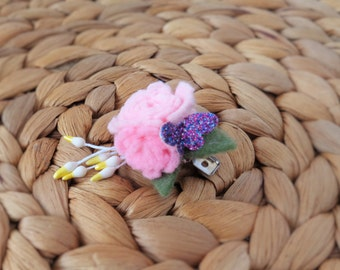 Floral Bouquet Hair Clip - Pink Candy