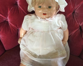 Big 1930s Composition chubby Baby Doll, Sleep eyes, Teeth, So Cute, Momma Doll