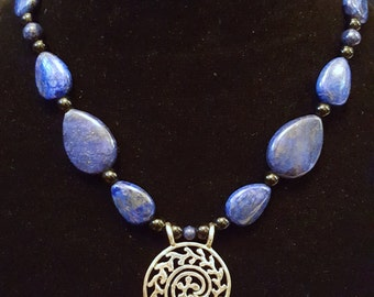 Lapis Lazuli Beads with Sterling Silver Focal Piece