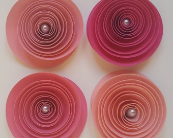 Paper Flowers, Rosettes, Spiraled Roses, Custom Color Paper Roses