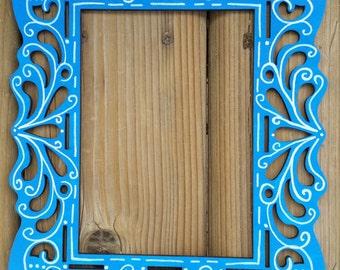 Blue laser cut frame