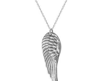 On Angels Wings Fine Silver Angel Wing Necklace w/ Sterling Chain Ready to Ship