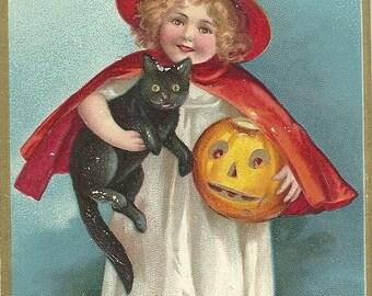 Halloween - 'A Jolly Hallowe'en' , artist/publisher: Ellen Clapsaddle/International Art Publ. Co., postcard posted 1909