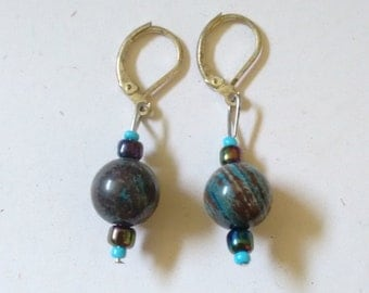 blue and brown marble earrings