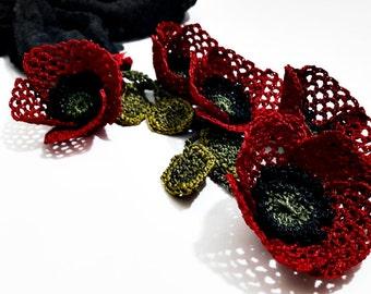 Poppy Silk Scarf Crochet Turkish Oya Lace Necklace
