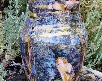 Vintage Fairy Decoupage Vase