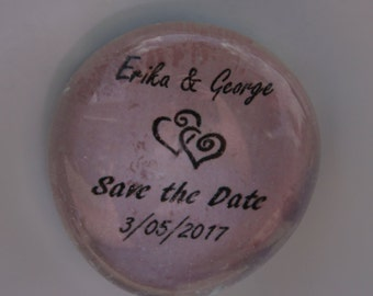 Save the Date glass magnet - Wedding Announcement - Set of 10