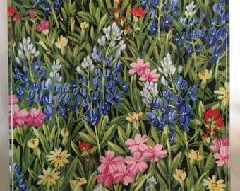 "Texas Bluebonnet Wildflowers 8"" glass plate"