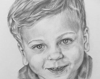 Kids portrait, pencil drawing, fine art Brushesstrokes