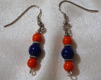 orange and blue with silver accent earrings