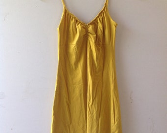 Stretchy band-aid camisole dress, spaghetti straps, chartreuse, golden, size small (4)