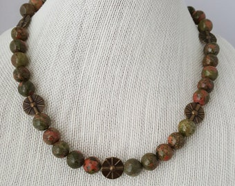 Unakite and brass beaded necklace