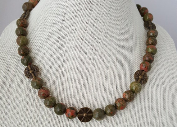 Unakite and brass necklace
