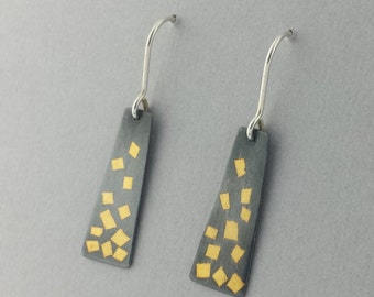 Dangle Earrings, Keum Boo, 23.4 Karat Gold, Fine Silver, Black and Gold, Confetti Earrings, Handmade, Ready to Ship