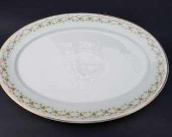 "GDA France~CH Field Haviland Limoges~13 1/2"" Serving Platter~Pattern HEAD138~Tiny Pink Flowers-Green Leaves~Gold Trim"