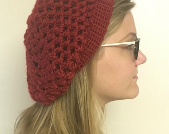 Red Crochet Super Slouchy Beanie