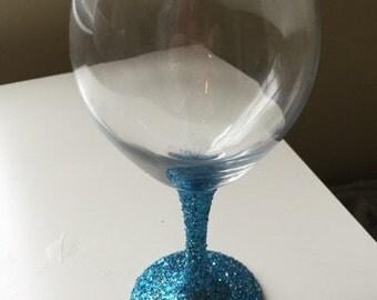 Shiny Blue Wine Glass