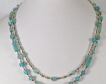 Blue Cane Glass and Silver Double Strand Necklace