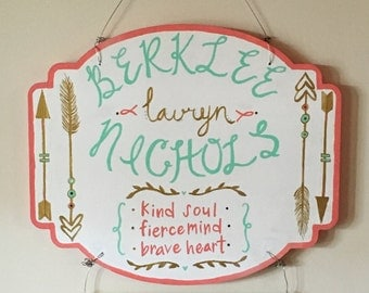 Custom Birth Announcement-Hospital Door Hanger-Painting-Name Plate-Babies-Kids Rooms