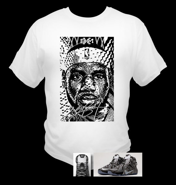 Lebron James 12 BHM Black T-Shirt Black History Month Theme Made to Match Shoes