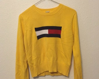 90s Style Tommy Hilfiger Knitted Cropped Sweater Size S/M