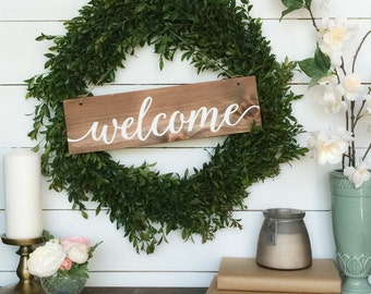 Welcome Sign - Rustic - Wood Sign - Farmhouse Decor - Farmhouse Style - Entryway - Hanging Wreath Sign - Housewarming  Gift - French Country