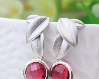 Ruby Red Faceted Glass and Matt Brushed Silver Leaf Earrings
