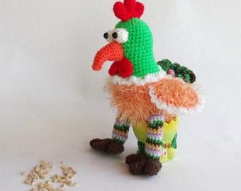 Bird lover gift Crochet Chicken Rooster decor Amigurumi chicken Crochet bird Plush toy Knitted rooster Colorful rooster Crocheted chicken