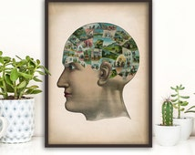 Anatomy phrenology print, altered art vintage phrenology poster, medical wall art, doctor gift, anatomy poster, anatomy print, home decor