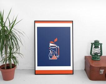 """poster serigraphy : bottle 9 """"théière alambiquée"""""""