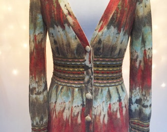 Vintage Multi-Color V-Neck Cardigan Sweater with Rainbow Ribbon Detailing - Warm Wool - Size Small