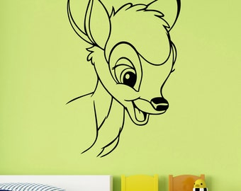 Bambi Wall Decal Removable Vinyl Sticker Cartoon Deer Art Disney Decorations for Home Kids Boys Girls Nursery Baby Shower Decor bem1